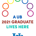 UB Grad Lives Here 2 sign with rainbow-colored rings graphic.