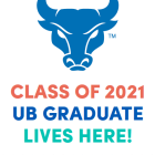 UB Grad Lives Here sign with bull spirit mark graphic.