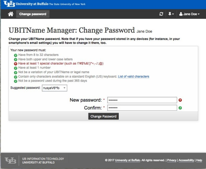 change password.