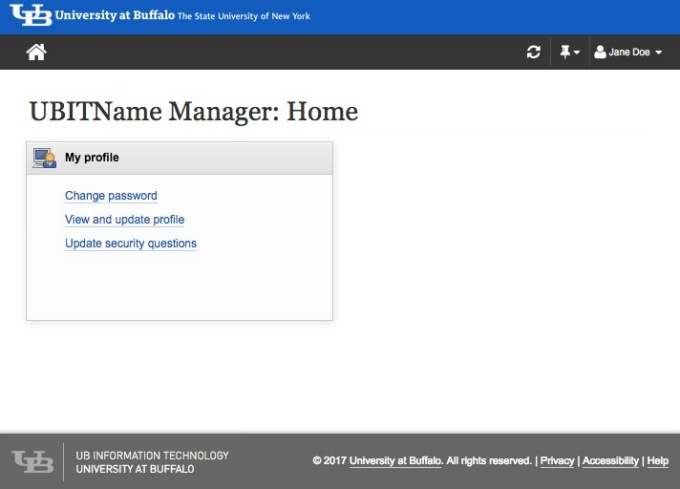 UBITName Manager Home Screen