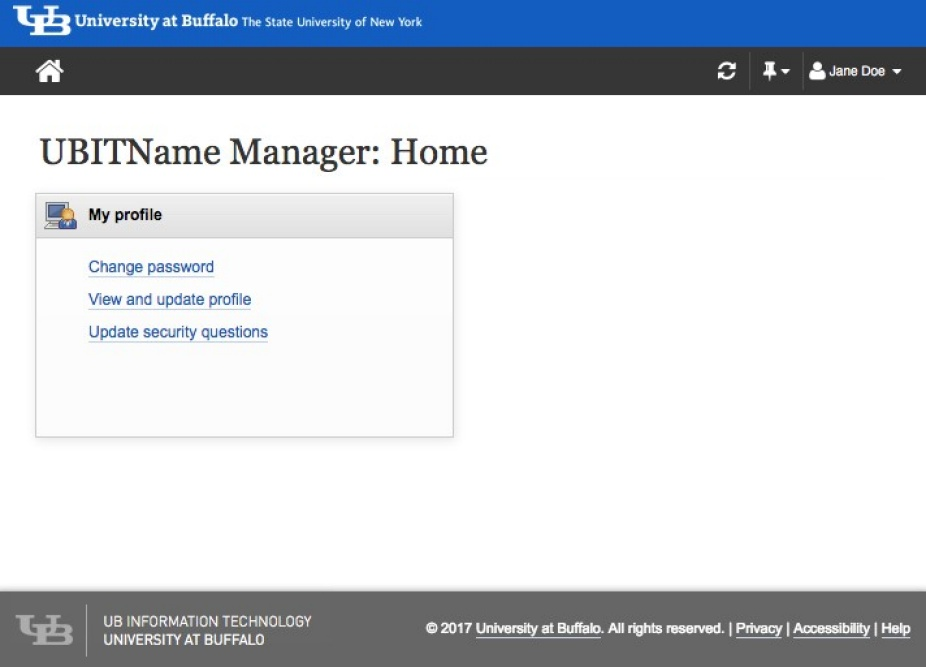 UBITName Manager Home Screen.