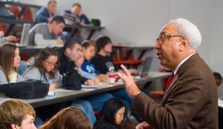 Professor teaching in a lecture