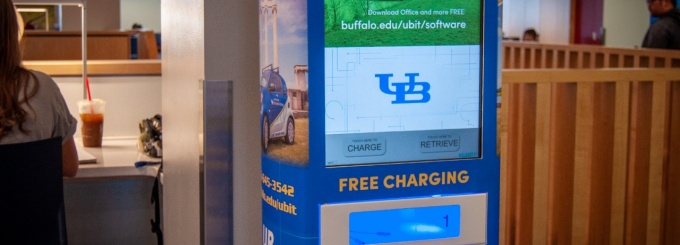 One of two new Charge + Lock stations on the third floor of the Silverman Library in Capen Hall.