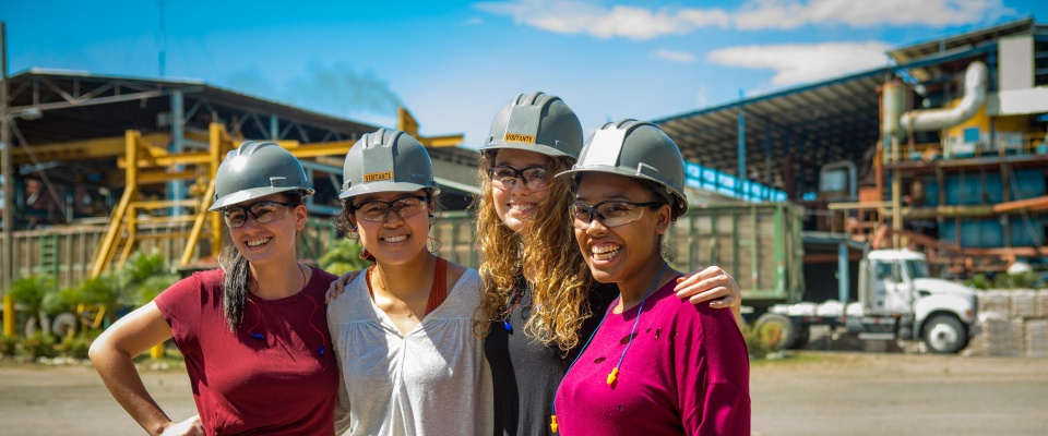 female students in hard hats.