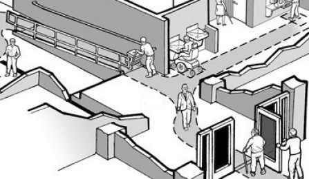Drawing of people traveling through accessible interior access routes