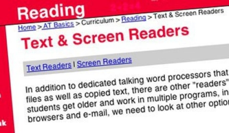 "A webpage displaying a title, ""Text and Screen Readers.""."