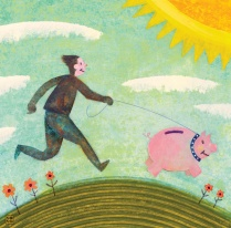 an illustration of a person walking a pig on a leash