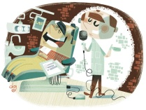 illustration of a dentist preforming standup comedy.