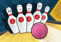 Conceptual illustration of bowling.