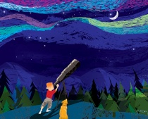 Illustration of a boy and a dog stargazing