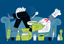 Illustration of a chef lounging on a sofa