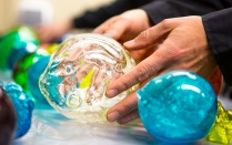 Colorful, gelatin-based globes created by artists at the Coalesce Center for Biological Art.