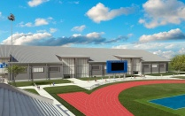 Rendering of new athletics fieldhouse.