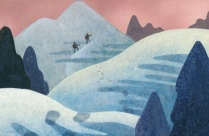 Illustration of two hikers traversing a trail in the snow.