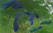 "I""Great Lakes, No Clouds"" image of North America's five Great Lakes courtesy of US NASA."