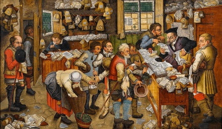 Painting by Pieter Brueghel, the Younger (or workshop) The Payment of the Tithes (The tax-collector), also known as Village Lawyer, 1617. Image courtesy of Wikimedia Creative Commons.