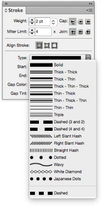 Line type display panel in Adobe InDesign.