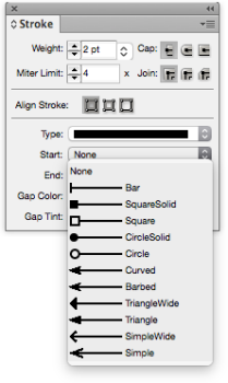 Line end style display panel in Adobe InDesign.