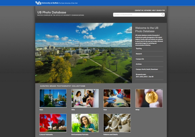 Screenshot of the UB Photo Database - ubphoto.smugmug.com
