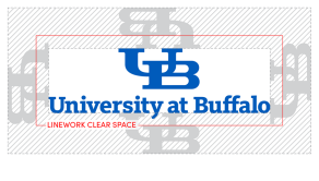UB wordmark with shaded area on all four sides representing clear space between other graphic elements.