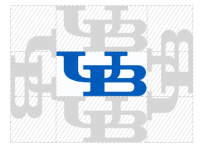 The inter-locking UB with shaded area on all four sides representing clear space between other graphic elements.