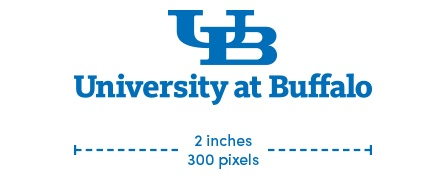 UB small-scale wordmark maximum size is 2 inches or 300 pixels.