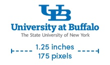 UB small-scale wordmark with SUNY text minimum size is 1.25 inches or 175 pixels.