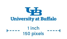 UB small-scale wordmark text minimum size is 1 inch or 150 pixels.