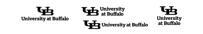UB Black lockup on white background. Note: Black in reserved for when color is not an option (newspaper ads, for example).