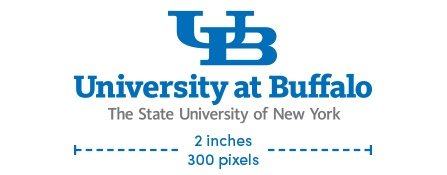 UB small-scale wordmark with SUNY text maximum size is 2 inches or 300 pixels.