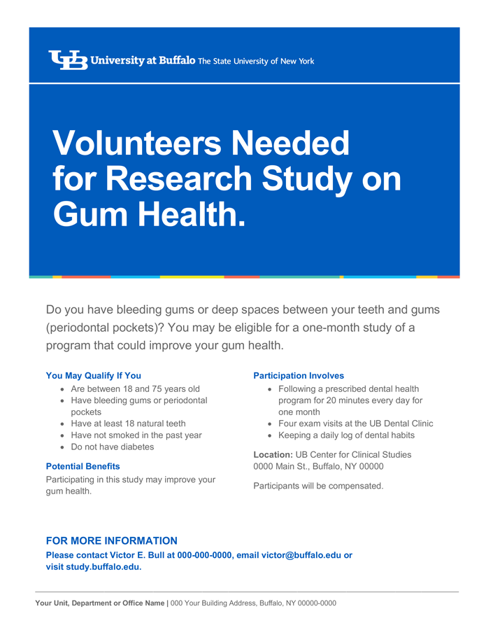 Research Study Flyer Templates Identity And Brand University At Buffalo
