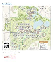 Research study flyer logistics template North Campus map.
