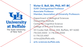 A UB business card example with too much information.