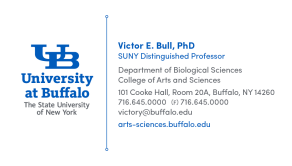 A UB business card example with the right amount of information.