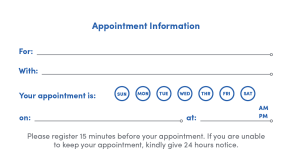 UB appointment card example.