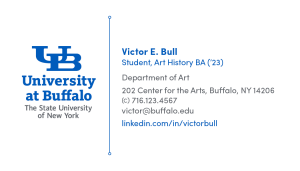 An example of a UB student networking and job search card.