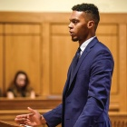 law student in a courtroom