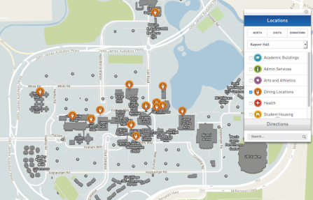 screenshot of a google map of campus dining locations on north campus.