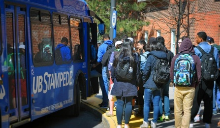 UB Stampede Bus Picking up students.