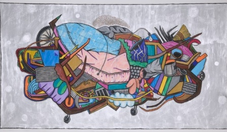 "Luis Cruz Azaceta, Cart (Homeless), 2008 Acrylic, charcoal, enamel, shellac on canvas, 96"" x 174"" Courtesy of Arthur Roger Gallery, New York."