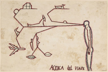 "José Bedia, Acerca del Viaje, 2001 Mixed media on amate paper1, 5 1/2"" x 23 1/2""."