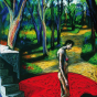 "Nicolás Menza, El jardín de senderos que se bifurcan (The Garden of Forking Paths), 2000, 39.5"" x 27.5"", pastel on paper."