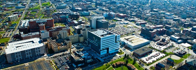 Aerial image of UB's downtown campus