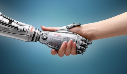 Robotic and human handshake.