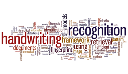 a wordcloud of handwriting recognition terms.