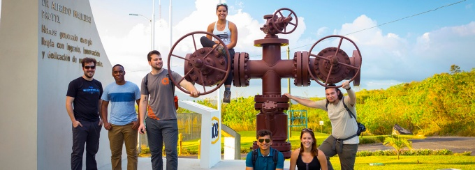 UB students at a water plant in Costa Rica