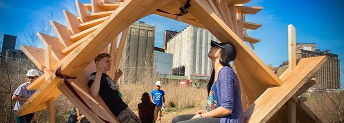 Students at the Architecture and Planning Reflection Space Construction at Silo City in Buffalo.
