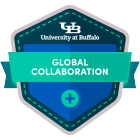 global collaboration digital badge icon.