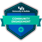 community engagement digital badge icon.
