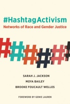 "Colorful chain of hashtag symbols beneath the title, ""Hashtag Activism.""."